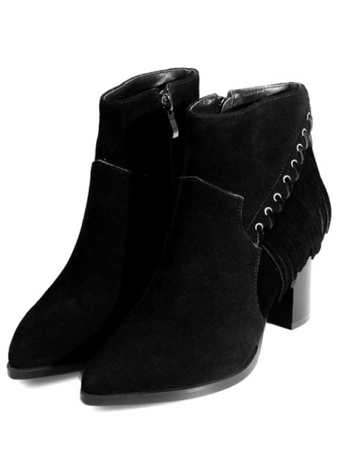 outfit Pointed Toe Chunky Heel Fringe Boots - BLACK 39 Mobile