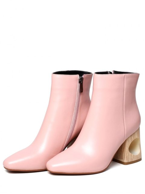 fashion Square Toe Wooden Heel Leather Boots - PINK 39 Mobile