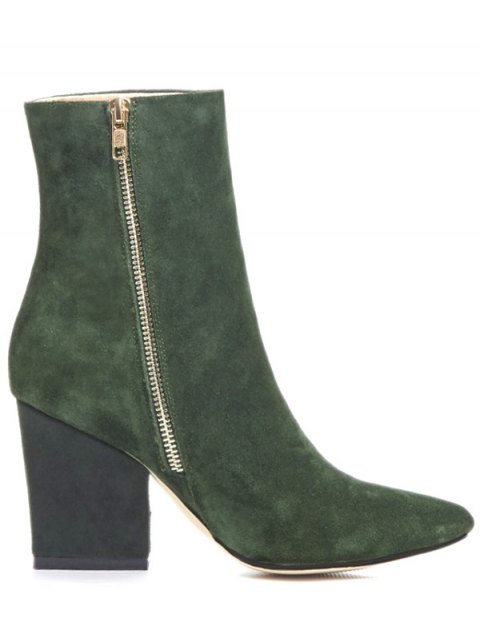 womens Side Zip Pointed Toe Chunky Heel Short Boots - GREEN 37 Mobile