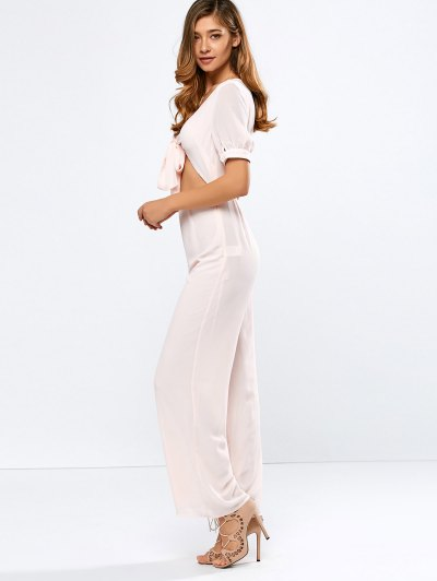 Cropped Tied Wide Leg Jumpsuit - SHALLOW PINK L Mobile