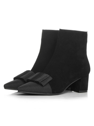 Bowknot Pointed Toe Chunky Heel Boots - BLACK 39 Mobile