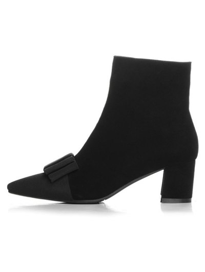 Bowknot Pointed Toe Chunky Heel Boots - BLACK 38 Mobile