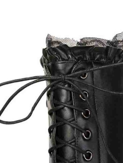 Lace-Up Pointed Toe Stiletto Heel Boots - BLACK 38 Mobile