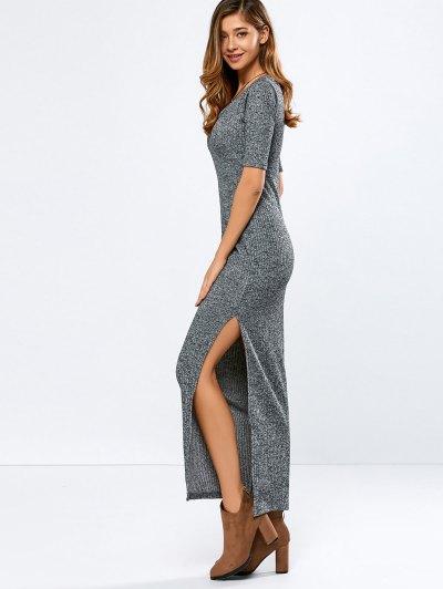 Scoop Neck Elbow Sleeve Ribbed Maxi Dress