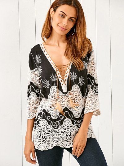Crochet Lace Up Top - White And Black