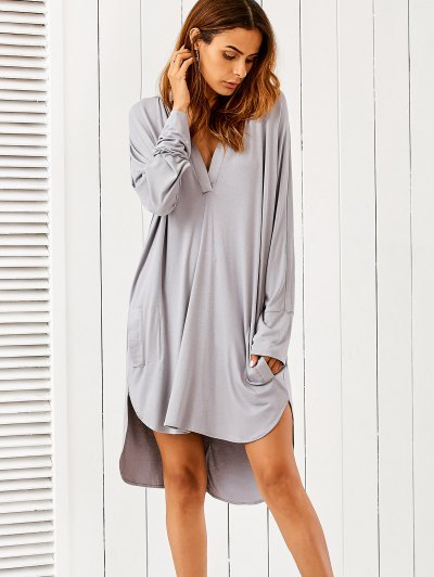 High Low Plunging Neck Dress - Gray