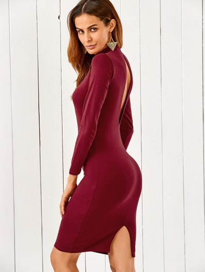 Back Cutout Pencil Dress - Wine Red
