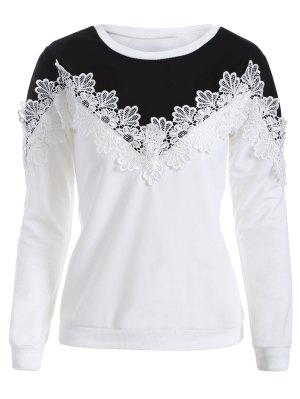 Chevron Panel Sweatshirt - White And Black