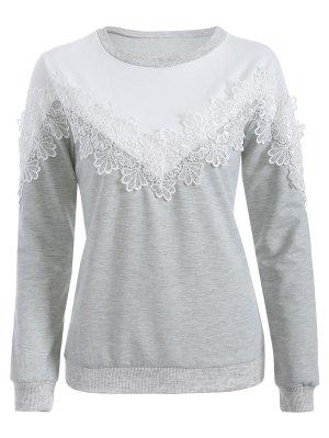 Chevron Panel Sweatshirt - Grey And White