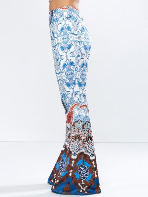 High Rise Printed Flare Pants - Blue