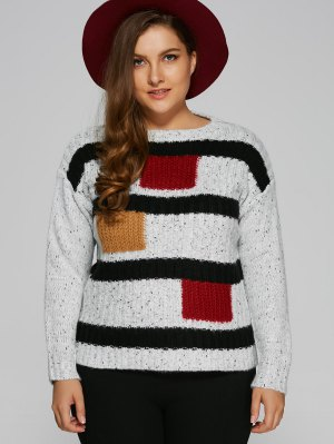 Color Block Plus Size Pullover Sweater - White
