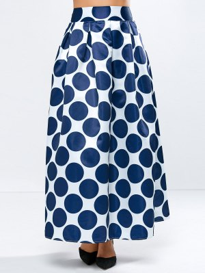 A Line Polka Dot Maxi Skirt - Blue