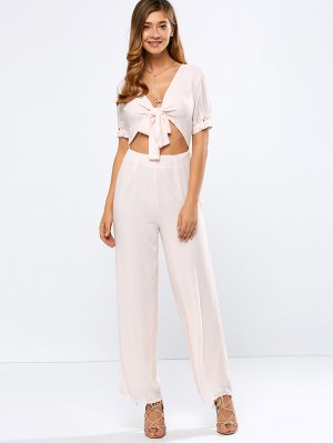 Cropped Tied Wide Leg Jumpsuit - Shallow Pink