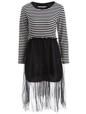 Striped Mesh Spliced Faux Twinset Sweater Dress - Black