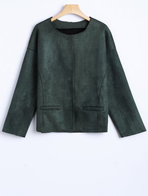 Wool Blend Cropped Jacket - Army Green