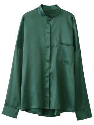 Stand Neck Satin Shirt - Green
