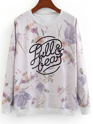 Letter And Floral Sweatshirt - Gray