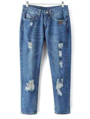 Skinny Ripped Narrow Feet Jeans - Denim Blue