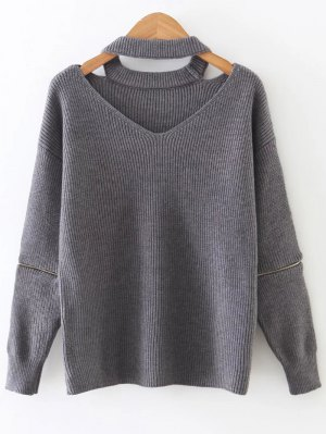 Zipper Sleeve Cut Out Choker Sweater - Gray