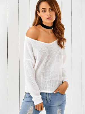 Loose One-Shoulder Sweater - White