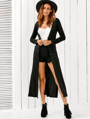 Long Fitting Buttoned Cardigan - Black