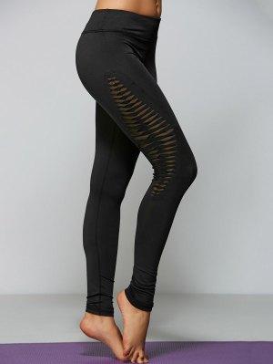 Ripped Tight Fit Sports Leggings - Black