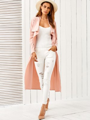 Belted Shawl Collar Trench Coat - Pink