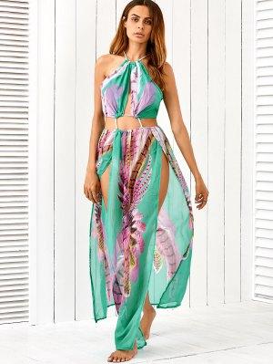 Slit Cutout Drawstring Printed Maxi Dress - Turquoise