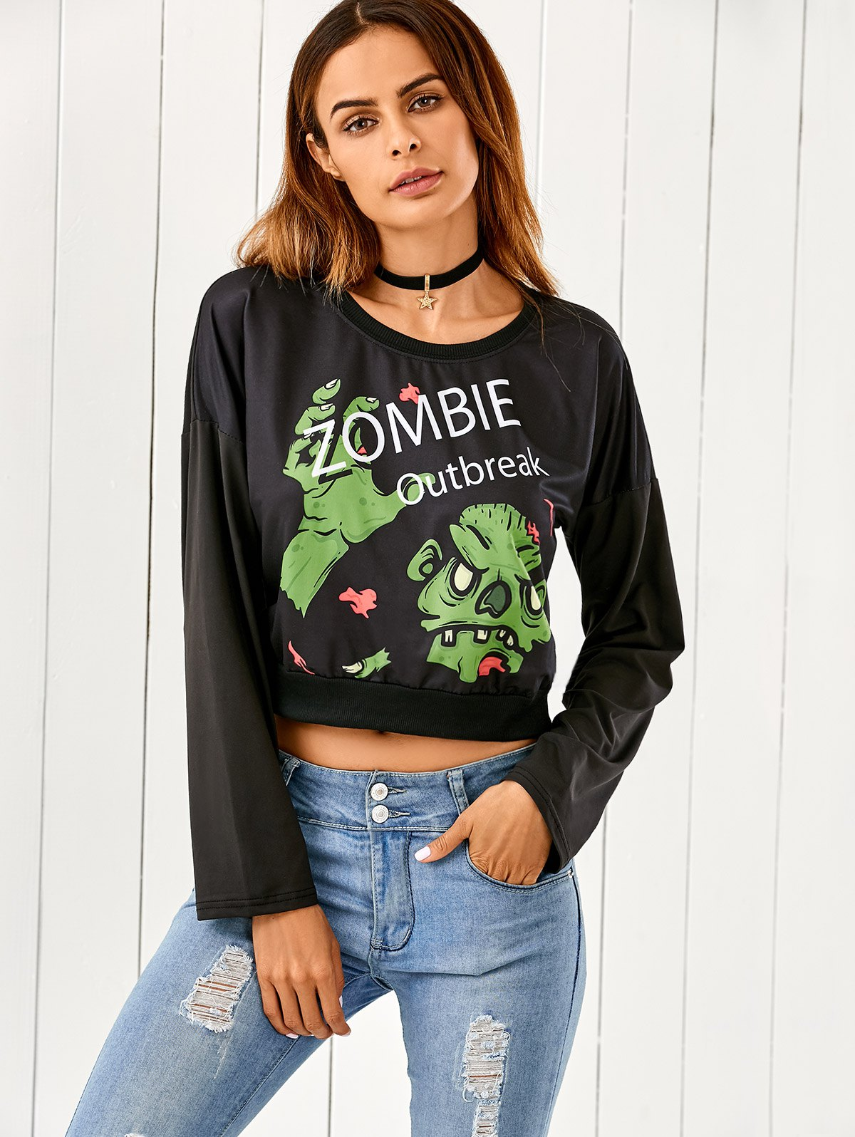 Round Neck Zombie Print Cropped T-Shirt