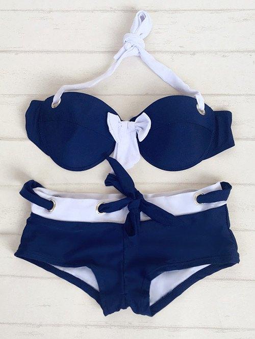 Halter Bowknot Drawstring Bikini Set