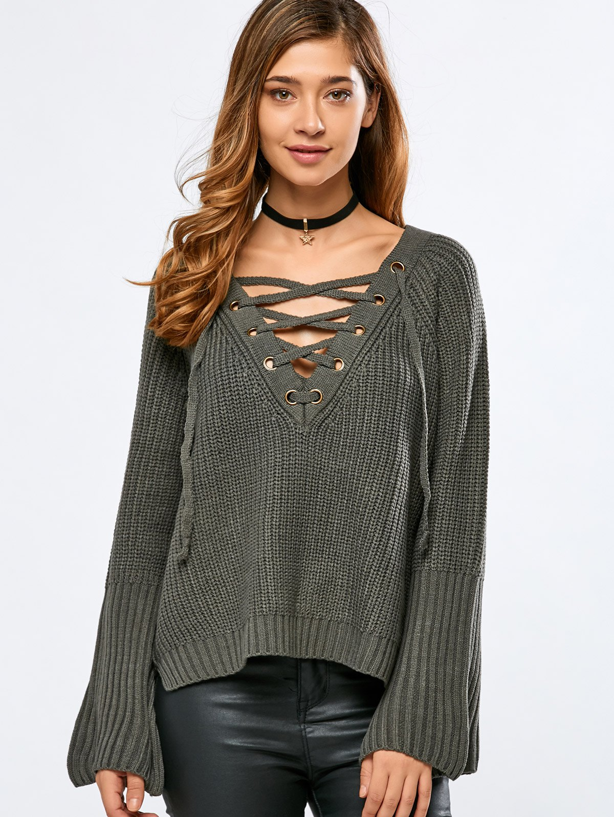 V Neck Long Sleeve Lace Up Sweater