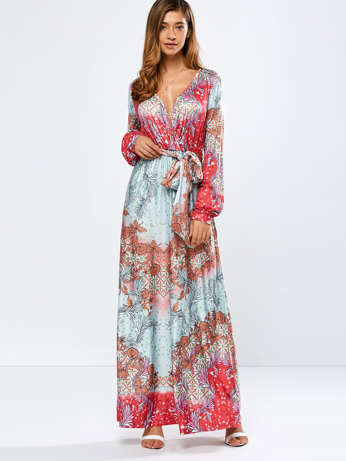 Plunging Neck Printed Maxi Dress
