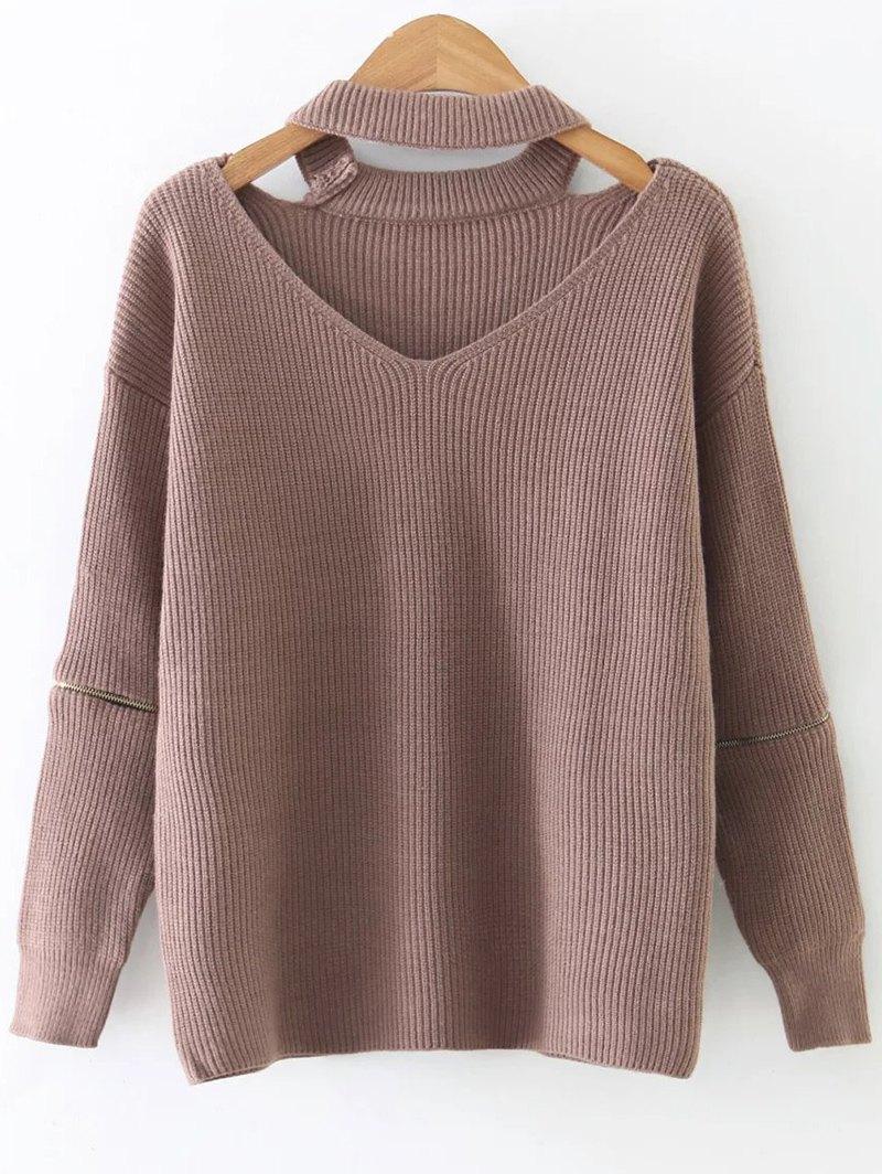 Jewel Neck Cut Out Choker Knitwear