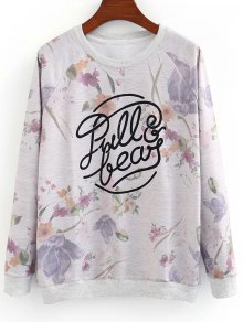Letter and Floral Sweatshirt
