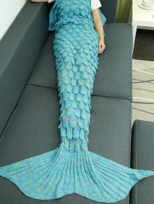 Fish Scale Knit Mermaid Throw Blanket - Lake Blue
