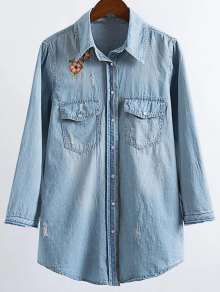 Ripped Embroidered Denim Shirt