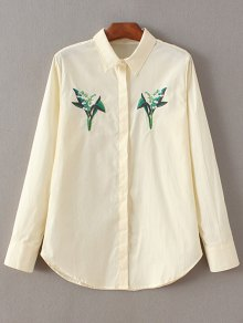 Casual Floral Embroidered Shirt - Off-white M