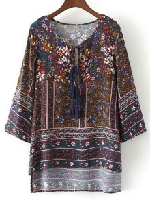 High Low Retro Print Tunic Top