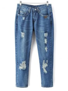 Skinny Ripped Narrow Feet Jeans - Denim Blue L