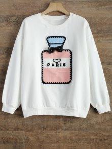Buy Perfume Bottle Patch Fleece Sweatshirt - WHITE S