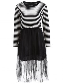 Striped Mesh Spliced Faux Twinset Sweater Dress