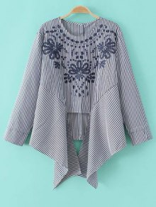 Asymmetric Embroidered Striped Blouse - Blue And White M