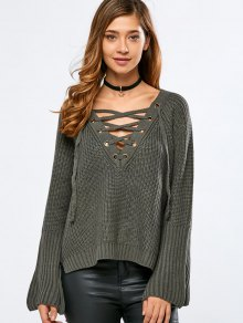 High Low V Neck Lace Up Sweater - Blackish Green