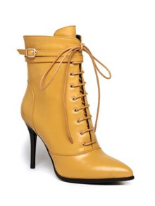 Leather Pointed Toe Lace-Up High Heel Boots YELLOW: Boots | ZAFUL