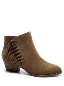 Chunky Heel Eyelet Fringe Ankle Boots