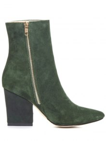 Side Zip Pointed Toe Chunky Heel Short Boots GREEN: Boots   ZAFUL
