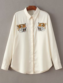Tiger Embroidered Shirt - Off-white M