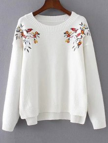 Embroidered High-Low Sweater - White