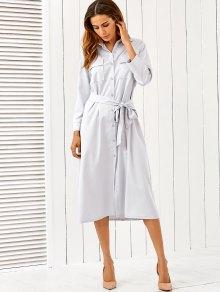 Belt Midi Shirt Dress - Light Gray M