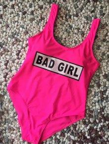 Straps Bad Girl Print Swimwear - Rose Red L
